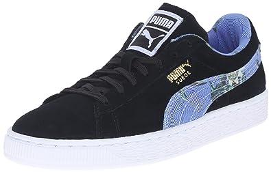 49bc5bef56f PUMA Women's Suede Classic +Flourish WN's-W Style Sneaker, Black/White 6.5