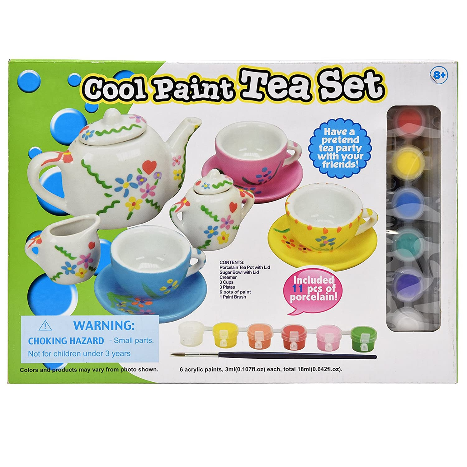 Number 1 in Gadgets Paint Your Own Tea Set, Decorate Your Own 11 Piece Set of Porcelain Dishes, Includes Six Paint Pots and Paint Brush