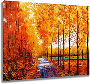 LB Framed Autumn Maple Leaves Canvas Wall Art Fall Tree Forest Field Landcape Painting Canvas Prints Artwork for Living Room Bedroom Bathroom Home Decor Ready to Hang, 16x12 inches