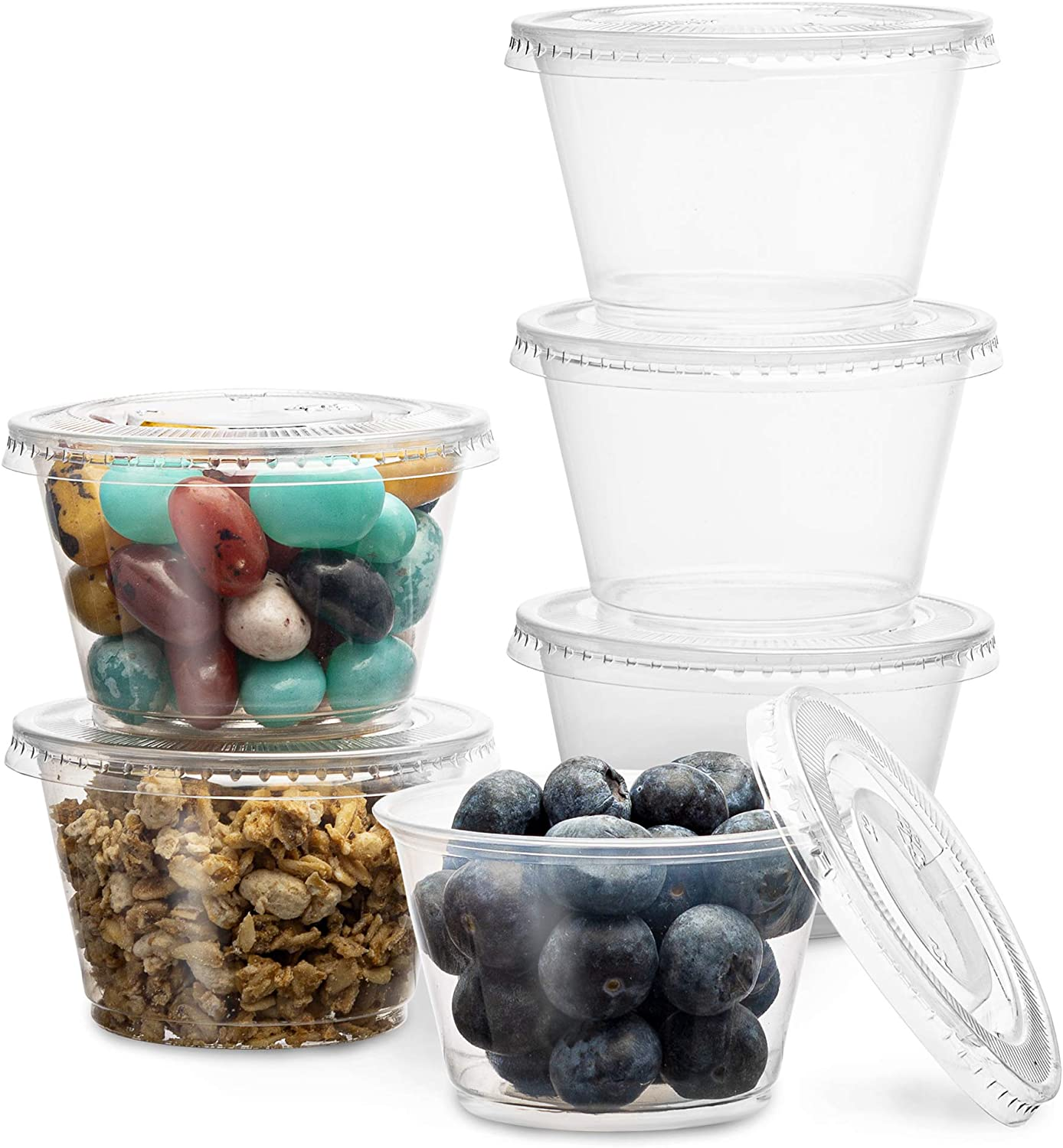 PlastiMade Clear Disposable Plastic Portion Cups With Lids (100 Sets - 4 Oz) - Disposable Condiment Cups, Sauce/Dip/Dressing Cups, Souffle Cups & Jello Shot Cups With Lids | Great Sampling Containers