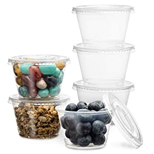 PlastiMade Clear Disposable Plastic Portion Cups with Lids (200 Sets - 4 Oz) - Disposable Condiment Cups, Sauce/Dip/Dressing Cups, Souffle Cups & Jello Shot Cups with Lids   Great Sampling Container