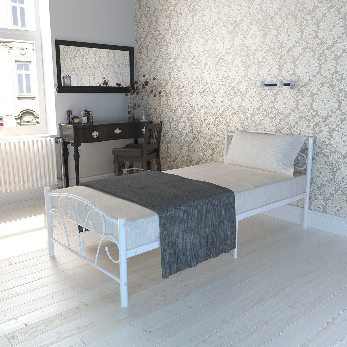 Yuneody Einzelbett Metallbett 90x200 Weiß Bettgestell Gästebett ...