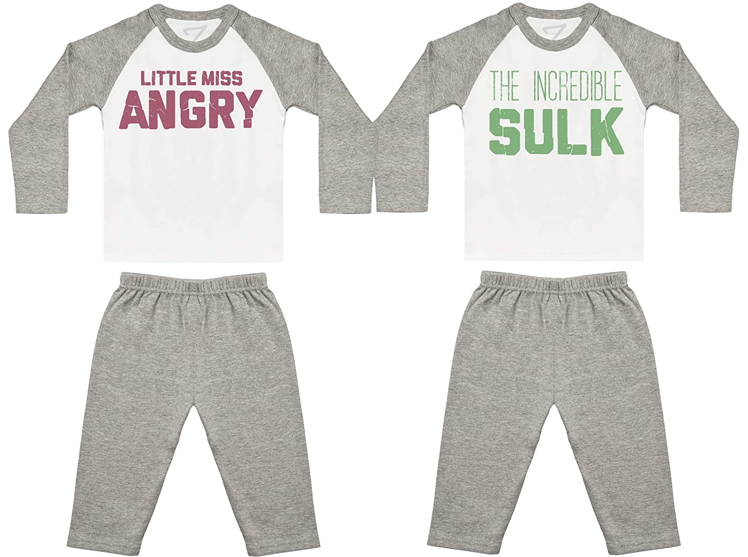 Baby Twins Nightwear Little Miss Angry The Incredible Sulk Baby Twin Pyjamas Baby Twins Gift