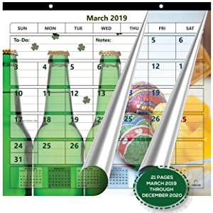 Magnetic Fridge Calendar 2019-2020 by StriveZen, 2 Strong Magnets for Refrigerator, Monthly March 2019 -December 2020, 22 Pages, 10x10 Inch, Academic, Desktop, Gift, Teacher Family Busy Mom Office