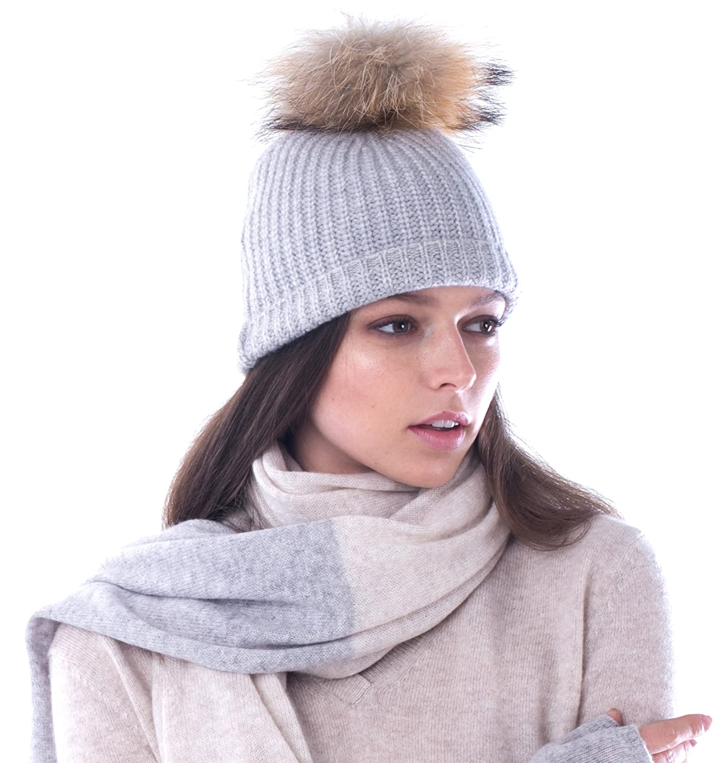 1186036d062b1 LEBAC 100% Cashmere Beanie Hat Thick Ribbed with Removable Rabbit ...