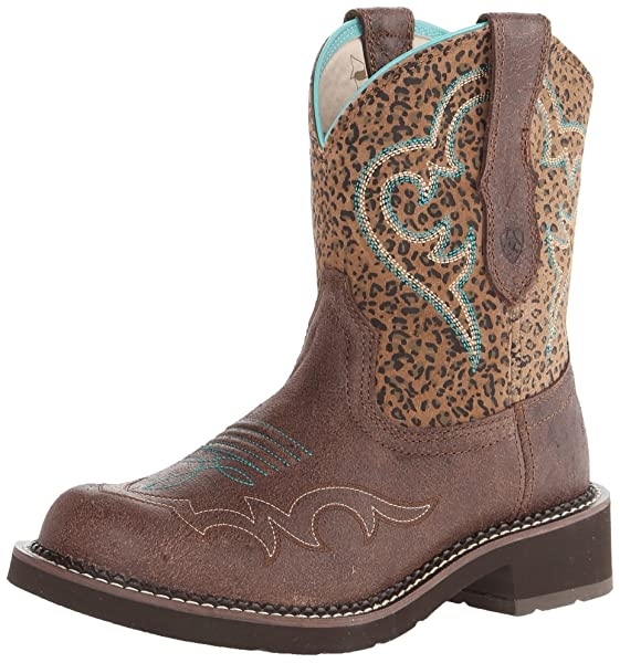 Ariat Women's Fatbaby Heritage Harmony Western Cowboy Boot, Crackled Bay/Mini  Leopard, 7 M US
