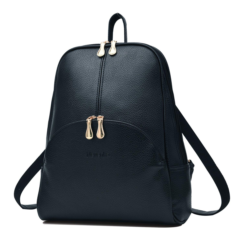 Nevenka Brand Women Bags Backpack Purse PU Leather Zipper Bags Casual Backpacks Shoulder Bags (Navy Peony)