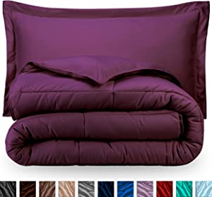 Bare Home Kids Comforter Set - Twin/Twin Extra Long - Goose Down Alternative - Ultra-Soft - Premium 1800 Series - Hypoallergenic - All Season Breathable Warmth (Twin/Twin XL, Plum)