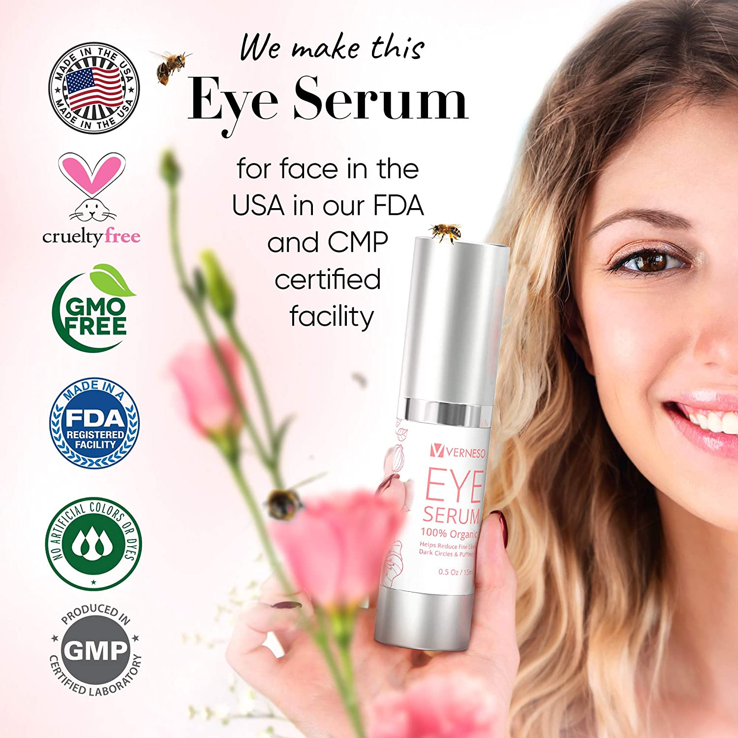 Best Eye Serum with BEE VENOM for Wrinkles, Fine Lines, Dark Circles, Puffiness Bags – With Hyaluronic Acid, Peptides Shea Butter – 100 ORGANIC – Made in USA – Anti Aging Moisturizer Serum
