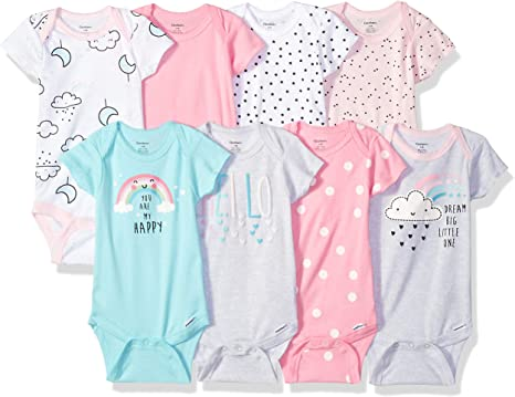 White Newborn Gerber Baby 8-Pack Short /& Long-Sleeve Onesies Bodysuit
