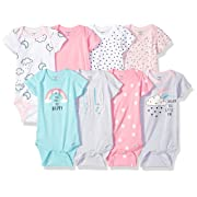 Gerber Baby Girls' 8-Pack Short-Sleeve Onesies Bodysuit, Clouds, 0-3 Months