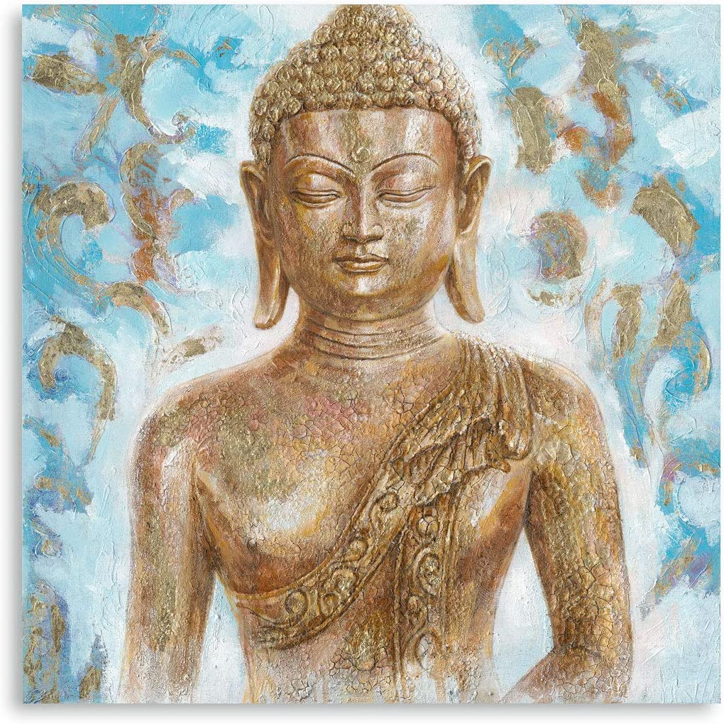 Buddha Canvas Wall Art Decor: Abstract Gold Gilded Blue Budhism Portraits for Living Room Office Inspirational Zen Painting Decor Framed Ready to Hang (24