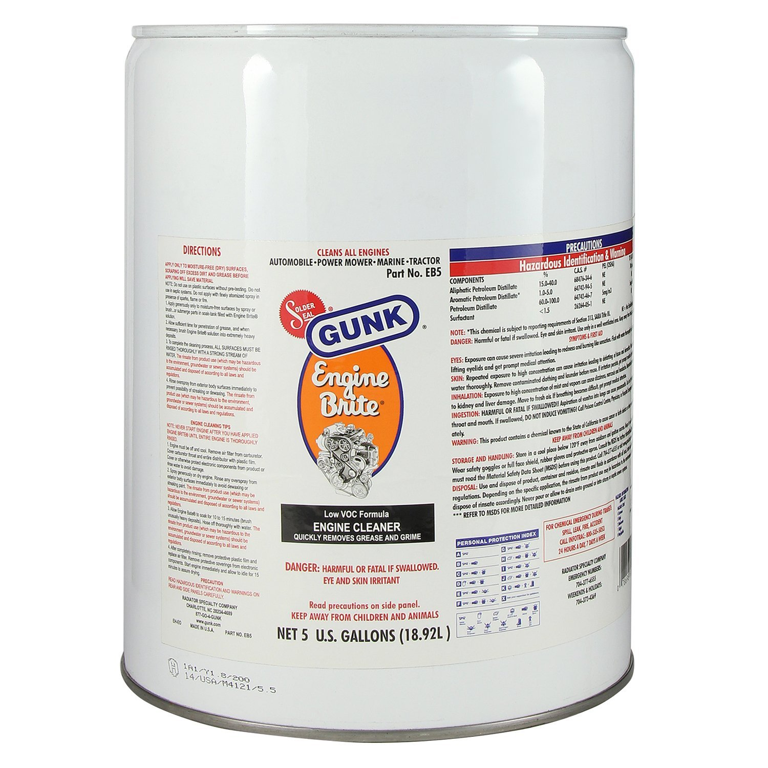 Gunk EB5 Engine Brite Original HD Engine Degreaser - 5 Gallon