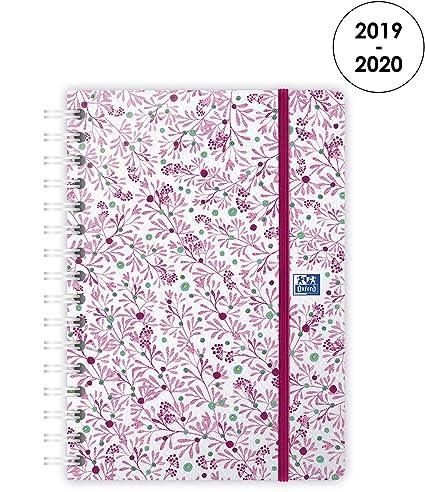 Oxford Flowers - Agenda 2019-2020 de agosto a agosto (1 semana en 2 páginas), color rosa