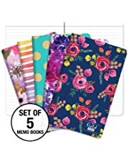 """Pocket Notebook/Pocket Journal - 5""""x8"""" - Assorted Patterns - Lined Memo Field Note Book - Pack of 5 /"""