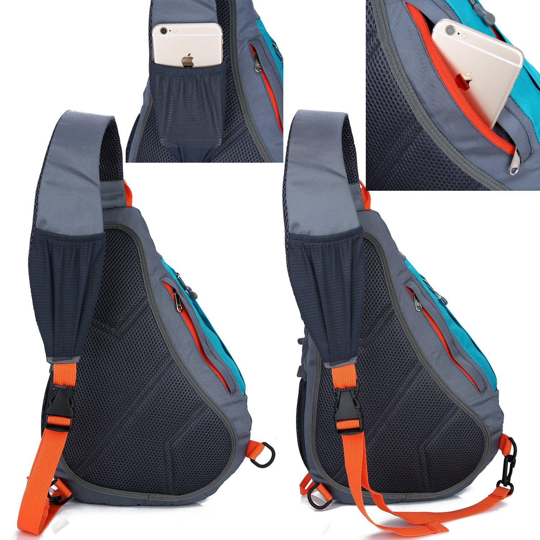 TOP-UP Men Womens Water Resistant Nylon Chest Bag Sling Shoulder Backpack Cross Body Bags with Bottle Holder