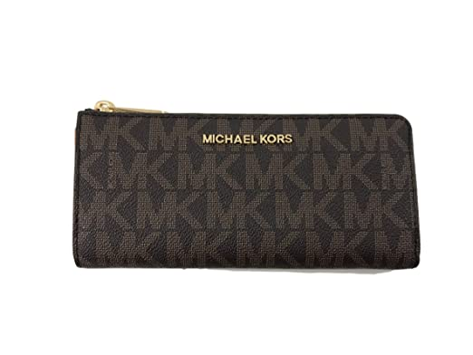 Michael Kors Jet Set Travel PVC Signature Large Three Quarter Zip Around  Wallet in Brown c688c8c0f