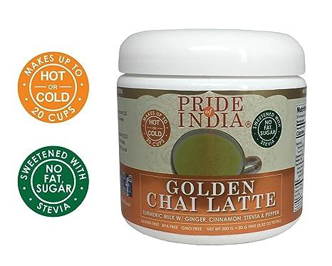 Pride Of India Oro Chai Latte Leche en Polvo de cúrcuma instantánea w/Jengibre,