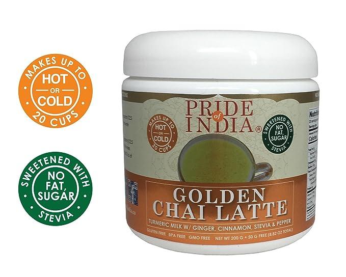 Pride Of India oro chai latte leche en polvo de cúrcuma instantánea w/jengibre, la canela, la stevia y pimienta: Amazon.es: Hogar
