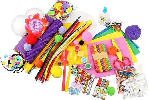 com-four® 1000 Piezas Kit de Manualidades - Artículos artesanales para niños - Estuche Artesanal para niñas y niños - Materiales para Aficionados: Amazon.es: Hogar