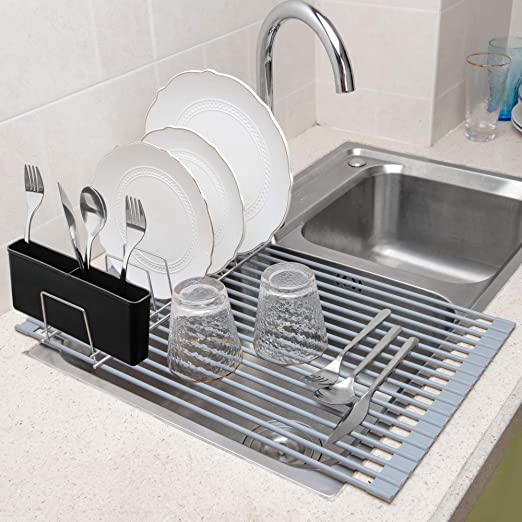 Collapsible Dish Drying Rack Over The Sink Stainless Steel with Free Cloth