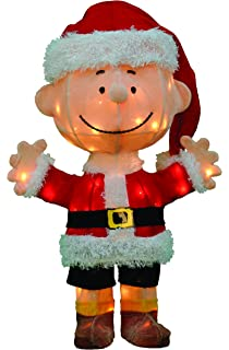productworks 24 inch pre lit 3d peanuts santa charlie brown christmas yard decoration - Snoopy Outdoor Christmas Decorations
