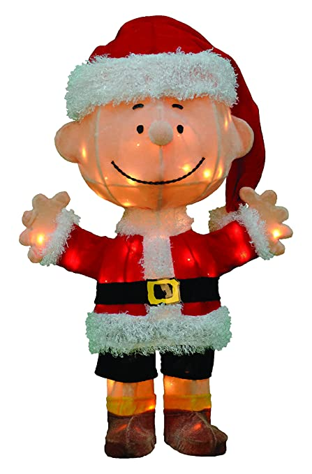productworks 24 inch pre lit 3d peanuts santa charlie brown christmas yard decoration
