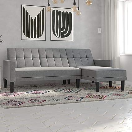 Amazon.com: DHP Haven Small Space Sectional Futon Sofa, Light Grey ...