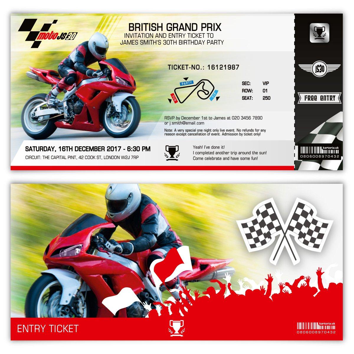 Pleasant 20 X Invitation Cards Invite Birthday Party Pass Motorbike Race Funny Birthday Cards Online Fluifree Goldxyz