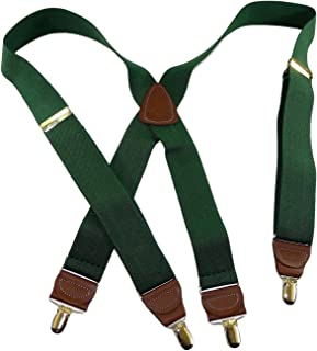 product image for Holdup Suspender Company's Dark Hunter Green Men's Clip-On Suspenders with X-Back Style and Gold No-slip Clips