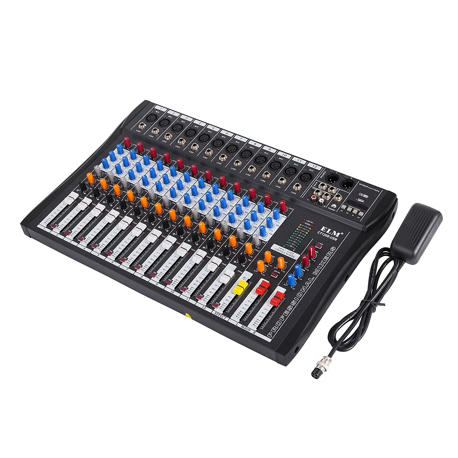 VEVOR 12 Channel Audio Mixer with 48V Phantom Power Mixing Console USB MP3 Audio Sound Mixer for Recording DJ Stage Karaoke Music Appreciation