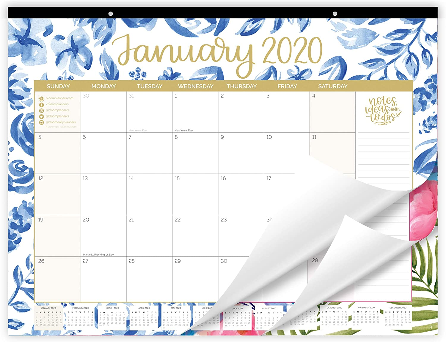 "bloom daily planners 2020 Desk/Wall Monthly Calendar Pad (January 2020 - December 2020) - Large 21"" x 16"" Hanging or Desktop Blotter - Seasonal Designs"