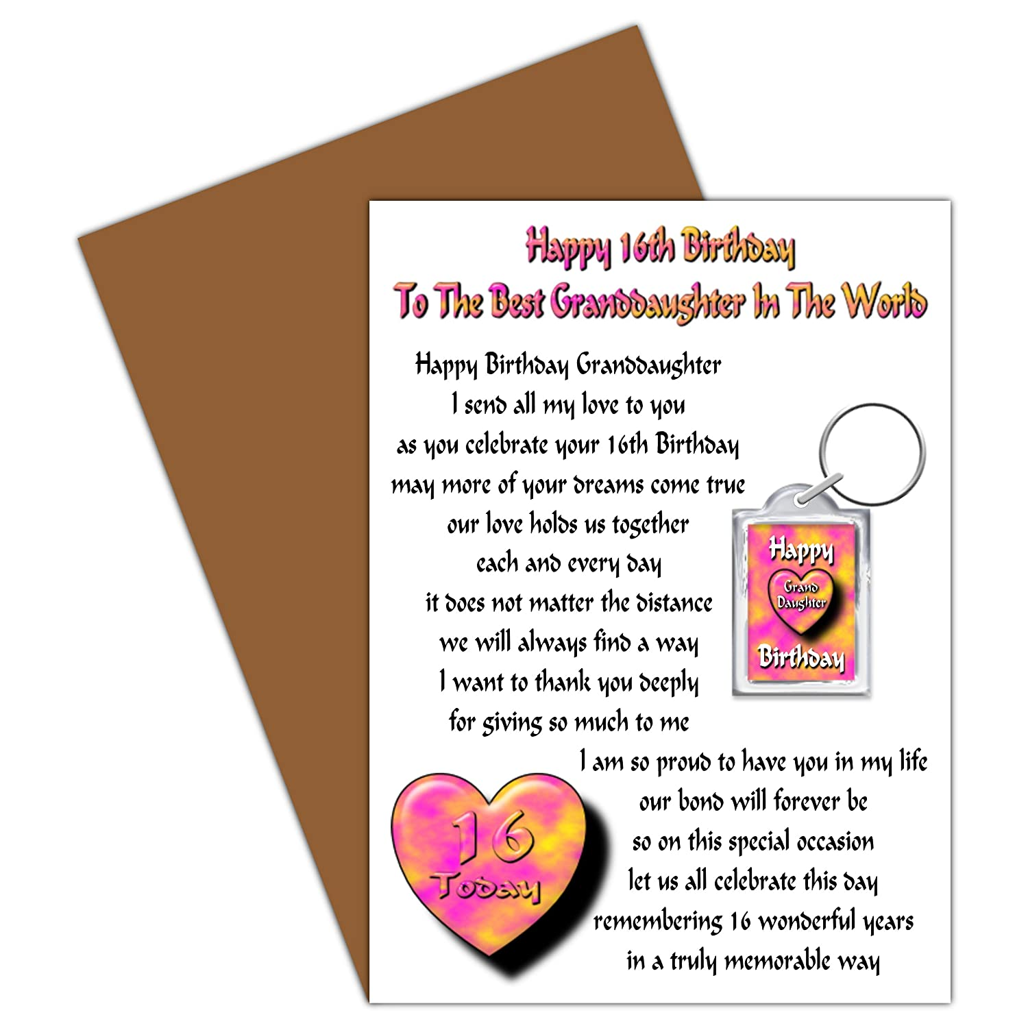Granddaughter 16th Happy Birthday Card With Removable Keyring Gift