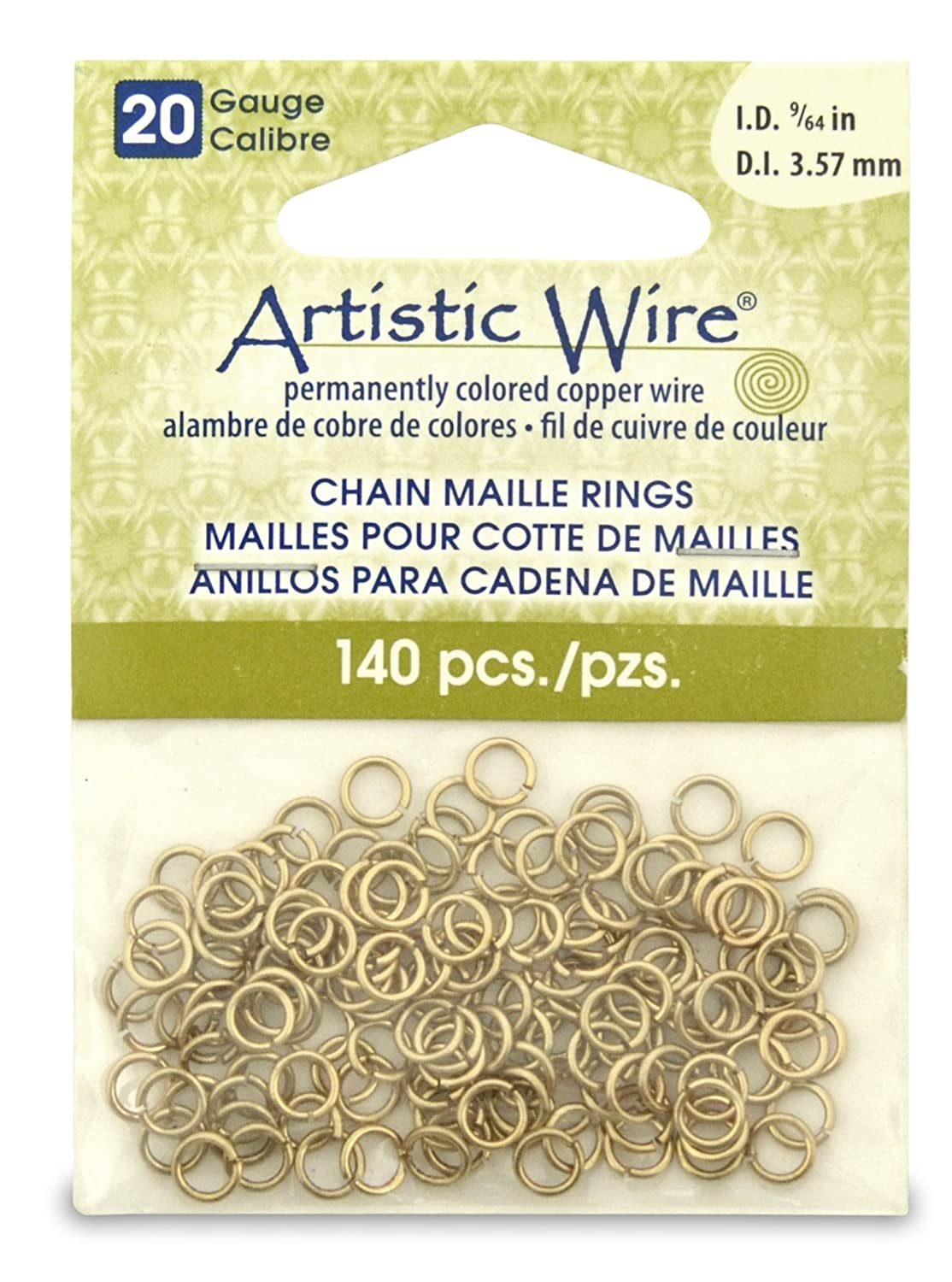 Artistic Wire Beadalon 9/64-inch 140 Piece 20-Gauge Non-Tarnish Chain Maille Rings, Brass A314-20-NTB-05