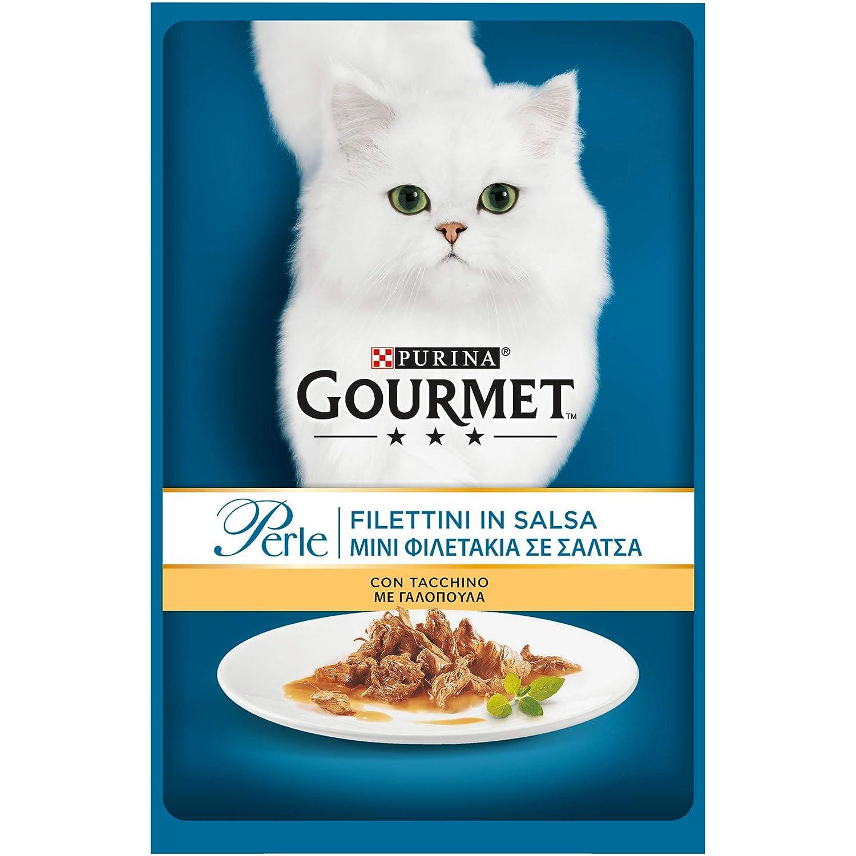 Gourmet Perle, filetitos en Salsa para Gato, con Pavo, 85 g - Pack de 24 Unidades: Amazon.es: Productos para mascotas