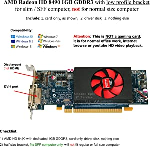 AMD Radeon HD 8490 1GB DDR3 PCIe x16 DVI DisplayPort Video Card Dell MX4D1 Low Profile
