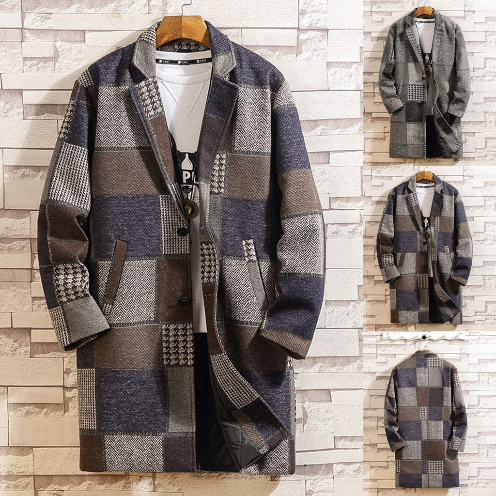 Mens Houndstooth Long Coat Casual Winter Fashion Wool Jacket Classic Slim Outwear