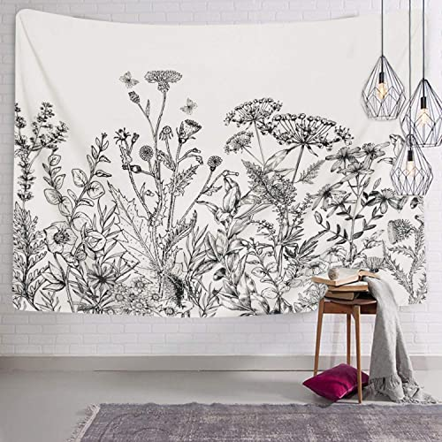 Herbs Plant Wild Flowers Tapestry Wall Hanging Floral Plants Tapestry Nature Scenery Tapestry for Living Room Bedroom Dorm Home Decor