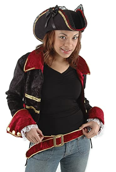 Lady Buccaneer Black Tricorn Hat Edged with Gold Braid, Red Velvet and Black Lace Trim Accented with 2 Black Satin Ribbon Bows by Elope