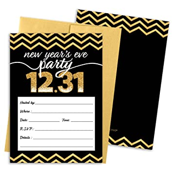 black and gold new years eve party invitation cards with envelopes 25 count