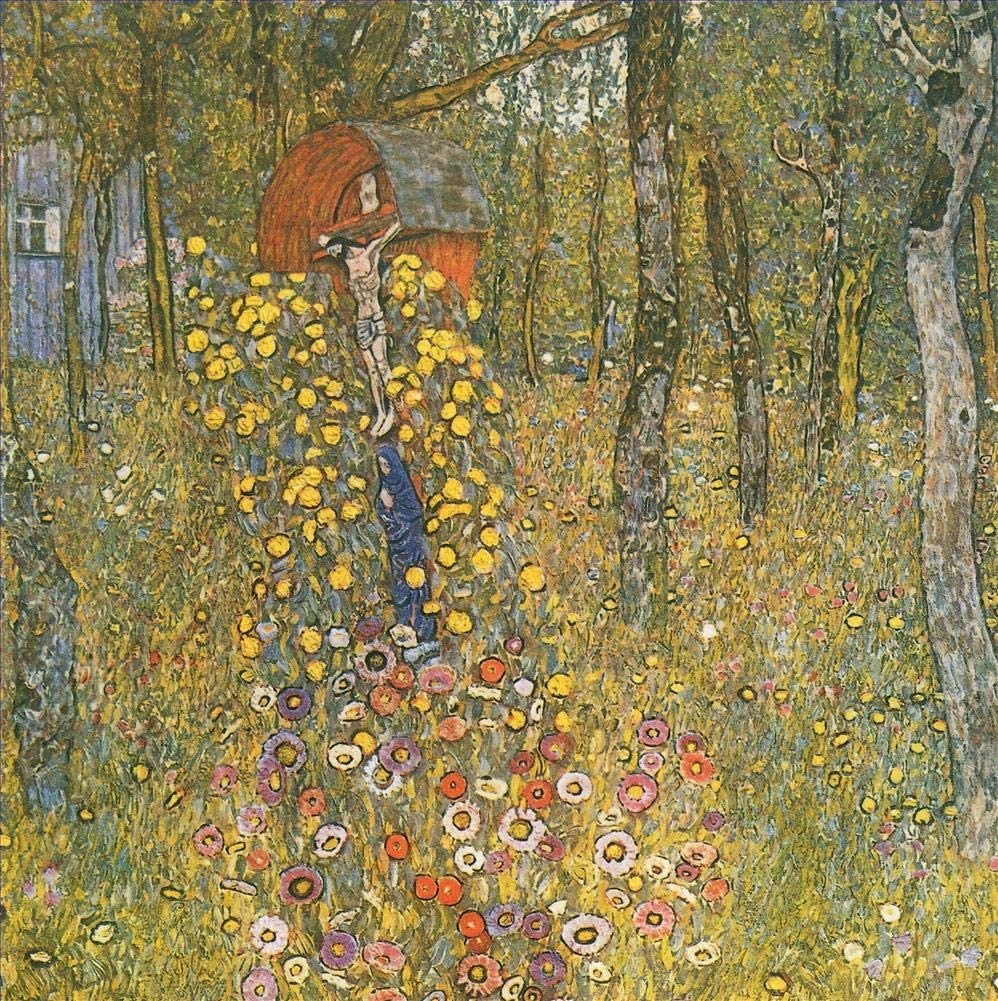 39 Famous Klimt Paintings - $50-$1000 Hand Painted by Academic Artists - Farm Garden with Crucifix Gustav Klimt Trees - Art Oil Painting on Canvas -Size04