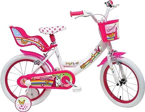 Denver Unicorn - Bicicleta Infantil de 16 Pulgadas, Color Blanco y Rosa: Amazon.es: Deportes y aire libre