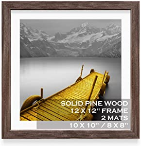 12x12 Picture Frames Solid Wood Rustic Walnut Display Pictures 10x10 or 8x8 with Mat or 12x12 without Mat - 12x12 Inch Square Photo Frames with 2 Mats for Wall or Tabletop Mount, 1 Pack