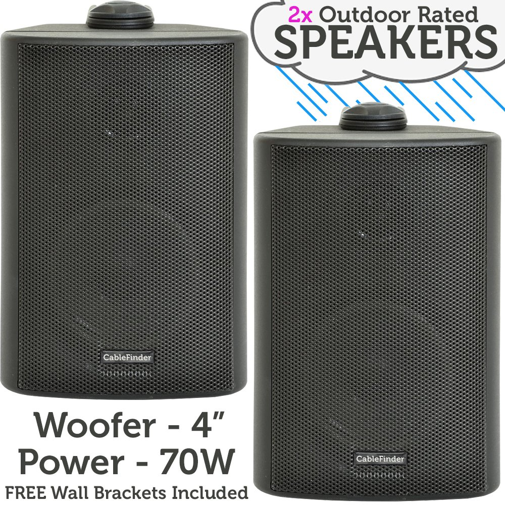 "(PAIR) 2x 4"" 70W Black Outdoor Rated Speakers *Wall Mounting HiFi Brackets Included* 8Ohm & 100V Perfect for Outside Garden Parties, Rain & Weatherproof IP54 Passive Cabinet - Loops 3052x2"