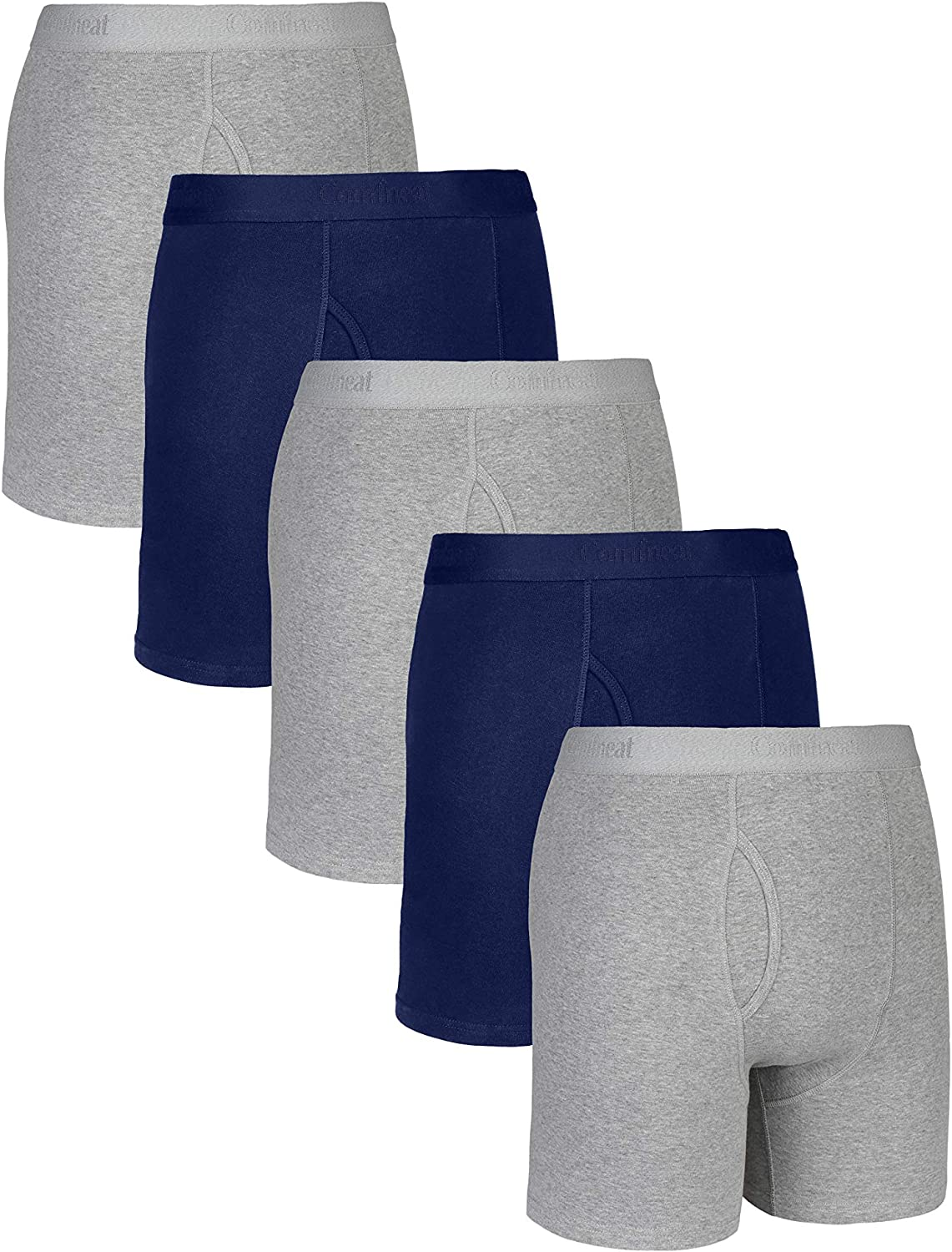 Comfneat Mens Comfy Boxer Brief 5 or 7-Pack Tagless Underwear Soft Stretchy Cotton Spandex