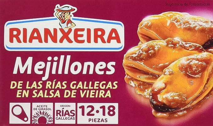 Rianxeira 1221 - Mejillones de Las Rías Gallegas en Salsa de Vieira, pack de 5