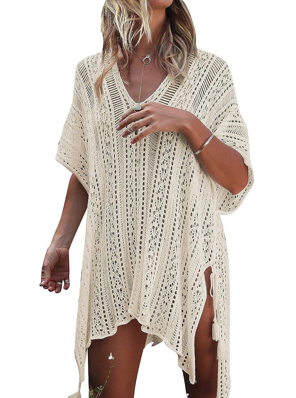 Beigecrochet YIPWIN Women VNeck Lace Polyester Cover Ups Swimwear Beach Dresses Beachwear