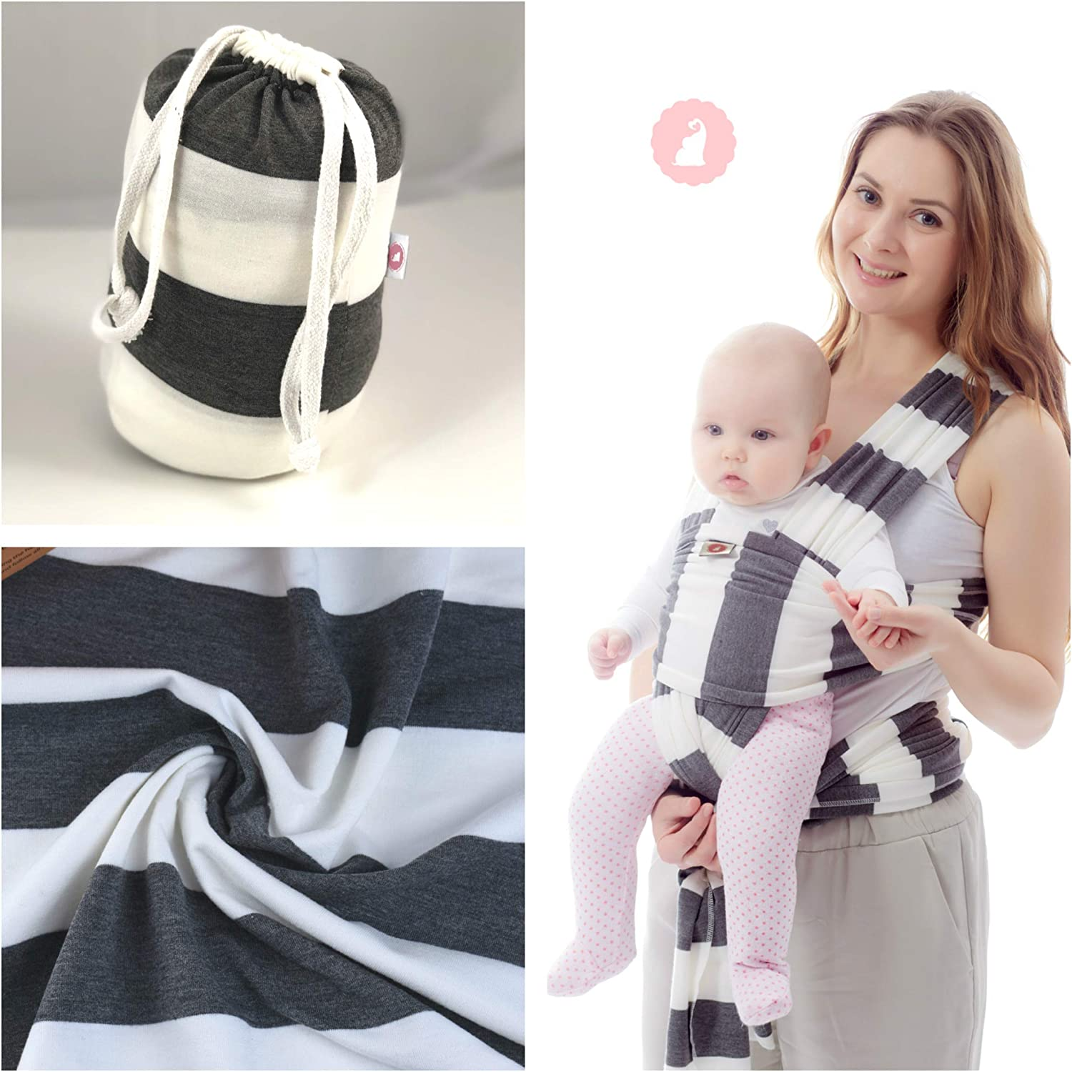 Stretchy Breathable /& Soft Adorables Baby Wrap Baby Carrier Baby Sling Grey White Colour
