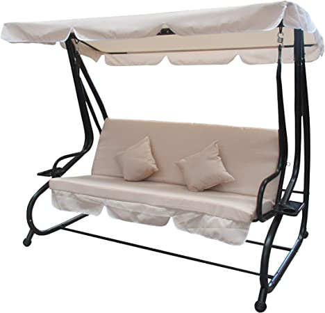 ALEKO SWC04SD Outdoor Garden Porch Swinging Couch and Daybed Swing Chair Steel Frame Patio Canopy Beige