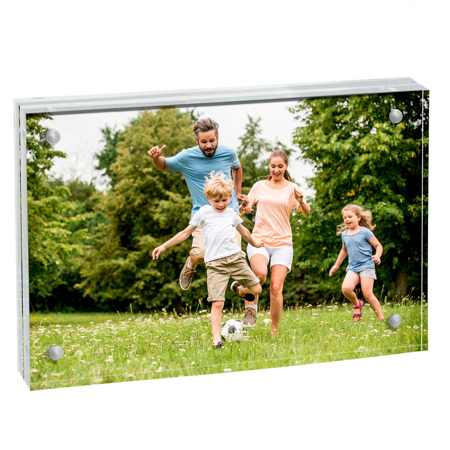 MeetU Acrylic 4x6 Picture Frame Two Sided Desk Photo Frame Magnetic Frame Inner Size 3x5 with Gift Pack for Display Family Pictures Baby Photos Friends Pictures or Pet Dog Picture by MeetU (Image #2)